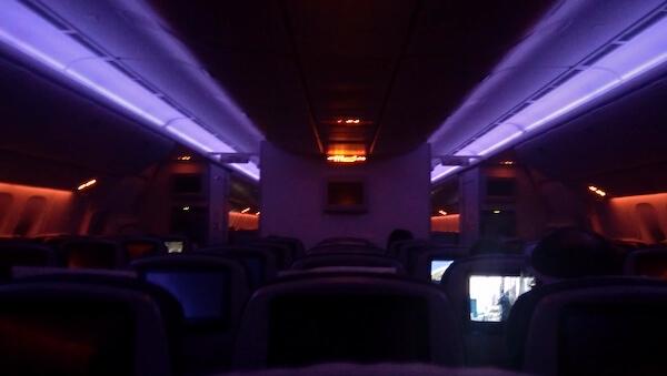 inside flight cabin night time