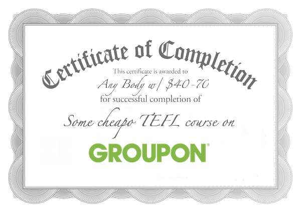 TEFL certificate provided by groupon