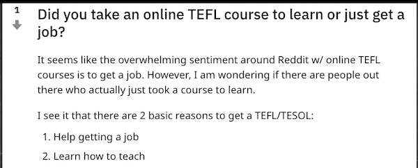 reddit online tefl course for job or learn