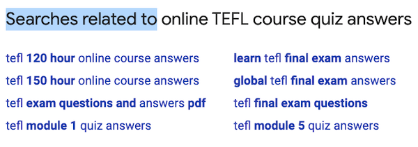 answer to online tefl course
