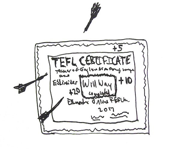 Use your TEFL certificate as a dartboard