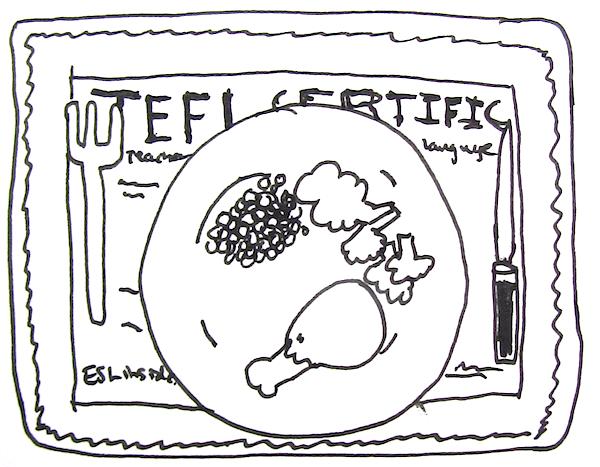 TEFL certificate placemat