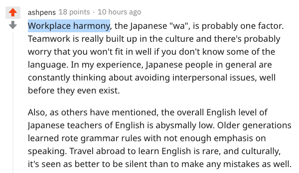 why Japanese ability is preferred answer on Reddit